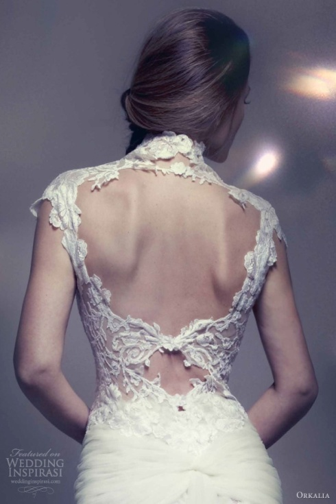 Orkalia 2013 lace wedding dress cap sleeves open back keyhole detail